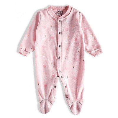 Pijama Macacão Soft Kids Antiderrapante - Cisne Rosa - Tiptop