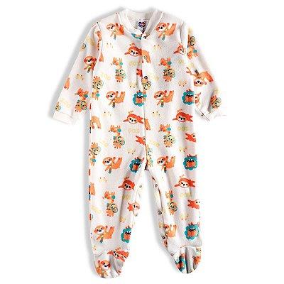 Pijama Macacão Soft Kids Antiderrapante - Zoo Creme - Tiptop