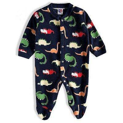 Pijama Macacão Soft Kids Antiderrapante - Dino Azul - Tiptop