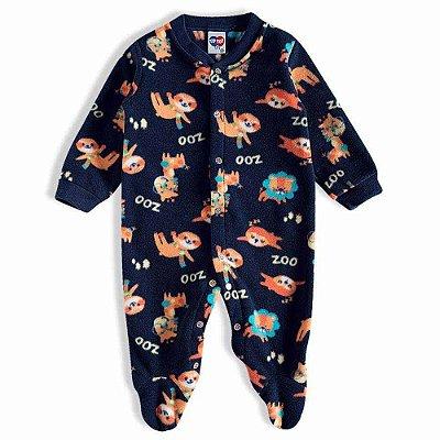 Pijama Macacão Soft Kids Antiderrapante - Zoo Azul - Tiptop