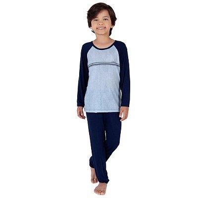 Pijama Infantil Manga Longa Azul - 10 a 14 anos - Toque Sleepwear
