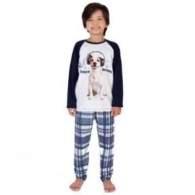 Pijama Infantil Manga Longa Dog - 10 a 14 anos - Toque Sleepwear