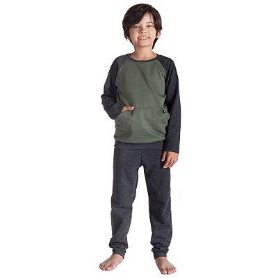 Pijama Infantil Manga Longa Com Bolso - 4 a 8 anos - Toque Sleepwear
