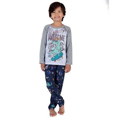Pijama Infantil Manga Longa Dino - 8 a 12 anos - Toque Sleepwear