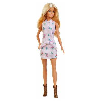 Barbie Fashionista - Vestido Listrado Rosa Florido - 119 - Mattel