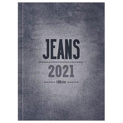 Agenda Diária Costurada Jeans 2021 - Cinza - Tilibra