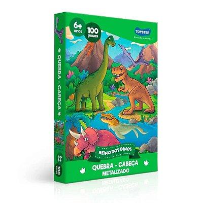 Quebra-Cabeça Reino Dinos Metalizado - 100 peças - Toyster