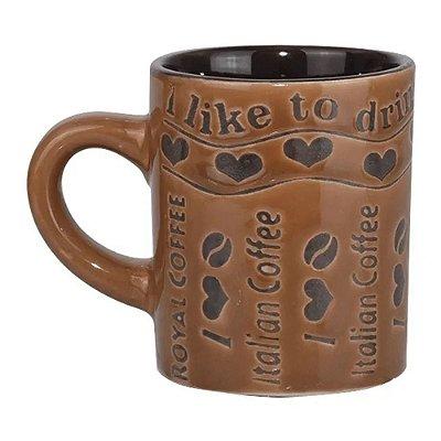 Xícara de Café em Cerâmica - I Like Drink Coffe - 110ML - Wincy
