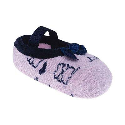 Meia Sapatilha de Laço Azul - Rosa - Pimpolho