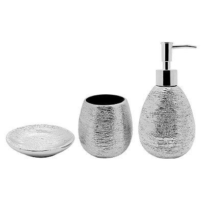 Conjunto para Banheiro Lunar Prata - 3 Peças - Mimo Style
