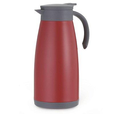 Garrafa Térmica Inox Com Parede Dupla 1L - Vermelha - Mimo Style
