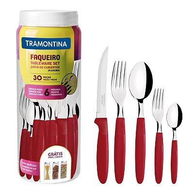 Faqueiro Ipanema Vermelho - 30 Peças - Tramontina