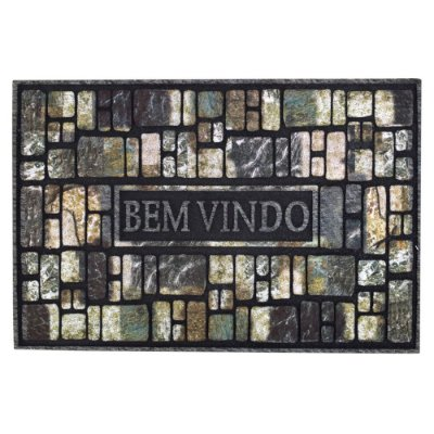 Capacho Bem Vindo Flok - Pedras - 40 x 60 cm - Via Star