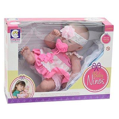 Boneca Baby Ninos - Poá Rosa- Cotiplás