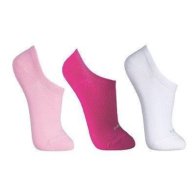 Kit Meia Sapatilha Walk Rosa Claro, Pink e Branco - 3 pares - Lupo