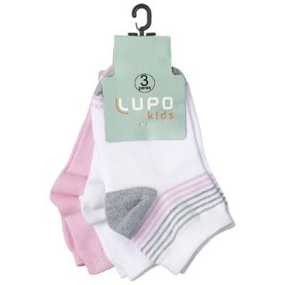 Kit Meia Infantil Feminina Rosa e Cinza - 3 Pares - Lupo