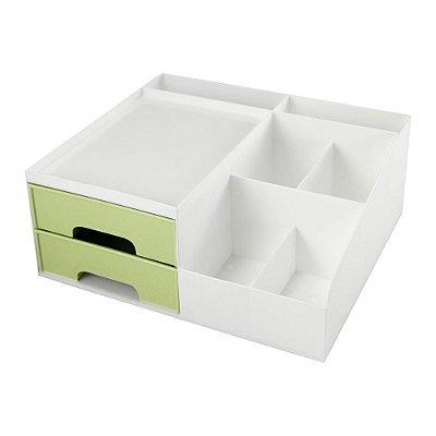 Organizador Multiuso Com 2 Gavetas - Verde - Jacki Design