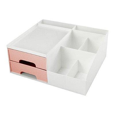 Organizador Multiuso Com 2 Gavetas - Rosa - Jacki Design