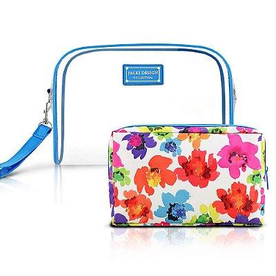 Kit Necessaire Aquarela Grande Azul - 2 peças - Jacki Design