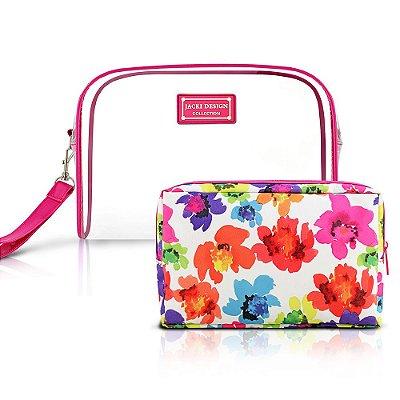 Kit Necessaire Aquarela Grande Rosa - 2 peças - Jacki Design