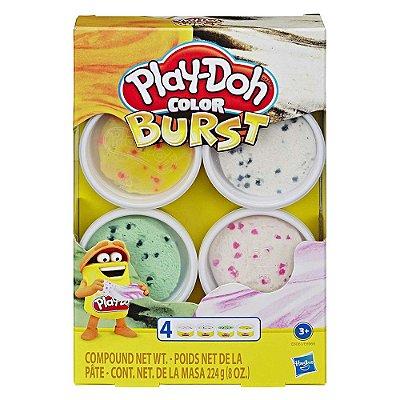 Conjunto Play Doh Color Burst - 4 potes - Amarelo/Branco - Hasbro