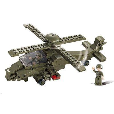 Blocos De Montar Helicóptero Militar Sluban - Multikids