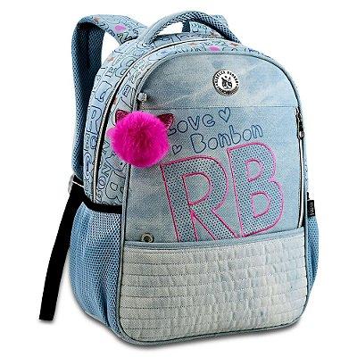 """Mochila de Costas Rebecca Bonbon 17"""" - Jeans Claro - Clio Style"""