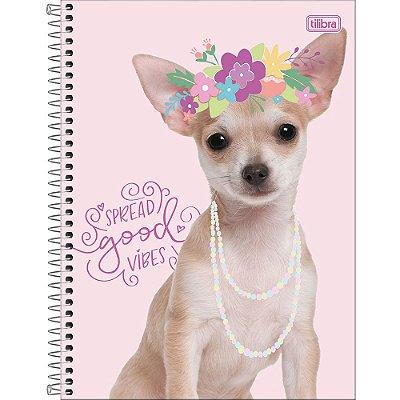 Caderno Hug Me - Cachorrinho Flowers - 10 Matérias - Tilibra