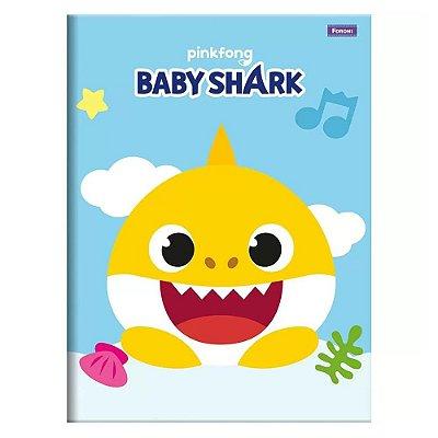 Caderno Pequeno 1/4 Brochura Baby Shark - Amarelo - Foroni