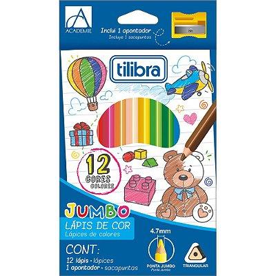 Lápis de Cor Académie Jumbo + Apontador - 12 Cores - Tilibra