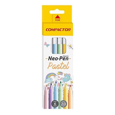 Canetinha Hidrográfica Neo-Pen Pastel - 6 Cores - Compactor