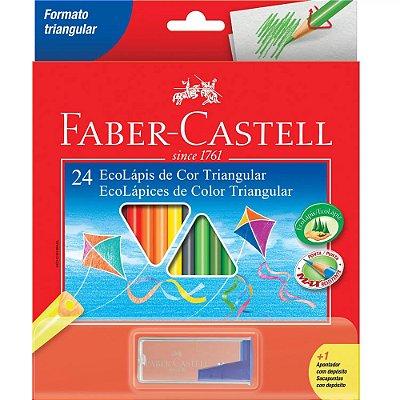Lápis de Cor Triangular com Apontador - 24 cores - Faber Castell
