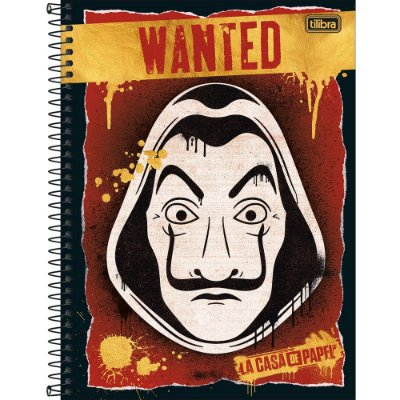 Caderno La Casa de Papel - Wanted - 80 folhas - Tilibra