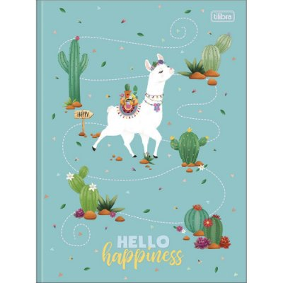 Caderno Brochura Hello Lhama Happiness - 80 Folhas - Tilibra