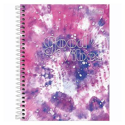 Caderno Colegial Good Vibes - Roxo - 160 Folhas - Tilibra