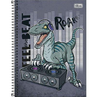 Caderno Raptor - Dino DJ - 80 Folhas - Tilibra