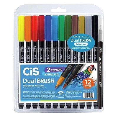 Conjunto de Marcador Artístico Dual Brush - 12 Cores + 1 Blender - Cis
