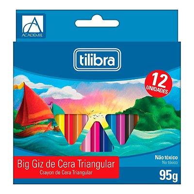 Giz de Cera Big Triangular Académie - 12 Cores - Tilibra