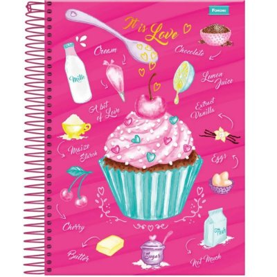 Caderno Cupcake - It Is Love - 10 Matérias - Foroni