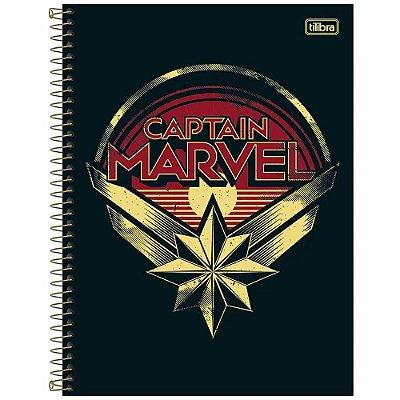 Caderno Capitã Marvel - Logo - 80 Folhas - Tilibra