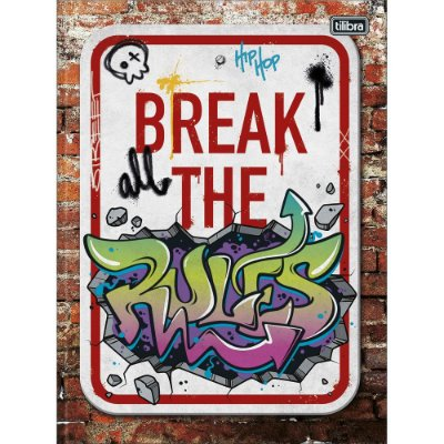 Caderno Brochura Graffiti - Break the Rules - 80 Folhas - Tilibra