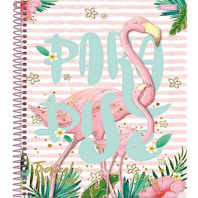 Caderno Tropical Fever - Flamingo - 10 Matérias - Foroni