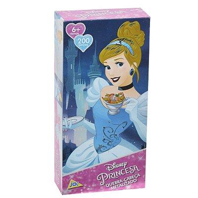 Quebra-cabeça metalizado Princesa - 200 peças - Cinderela - Toyster