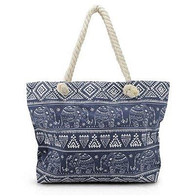Bolsa de Praia - Elefantes Azul Marinho - Jacki Design