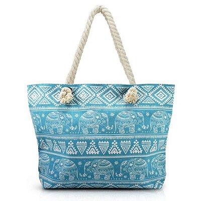 Bolsa de Praia - Elefantes Azul - Jacki Design