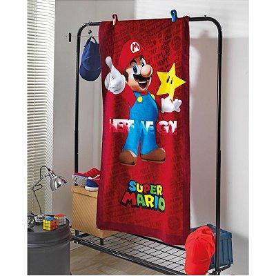 Toalha de Praia Velour - Super Mario - Vermelha - Dohler