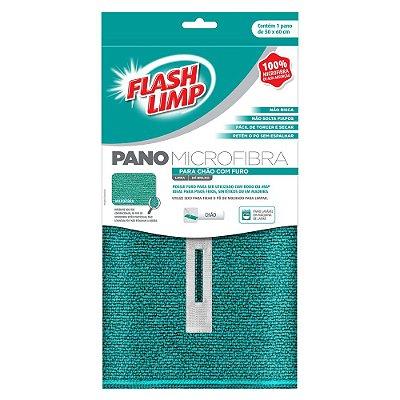 Pano Microfibra Para Chão Com Furo - 60 x 80cm - Flash Limp