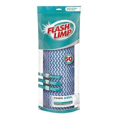 Rolo Pano Azul Multiuso - 50 Panos - Flash Limp