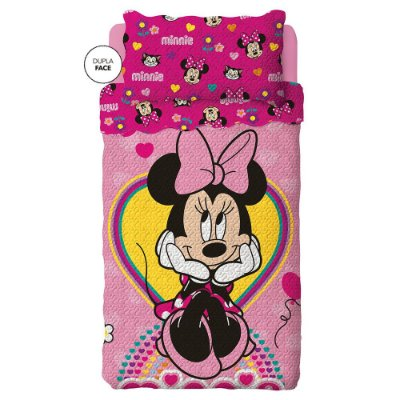 Kit Colcha Bouti Infantil Dupla Face Minnie - Lepper