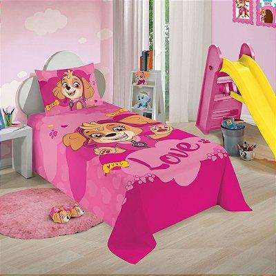 Jogo de Cama Patrulha Canina Solteiro Pink - 2 Peças - Lepper
